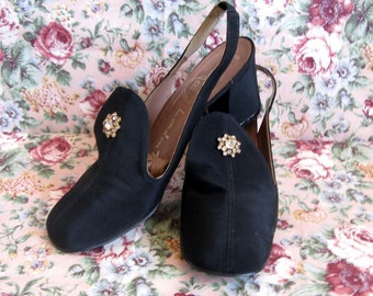 Vintage 1960s Womens Shoes Bally Black Rhinestone Star Sling Back Shoes 7.5