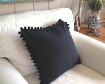 Back in Black Pom Pillow Cover with Black Trim