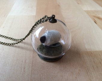 Sheep Terrarium Necklace, Globe, Tiny Wool Sheep, miniature wool sheep, needle felted sheep, sheep necklace, mothers day, gifts for farmers