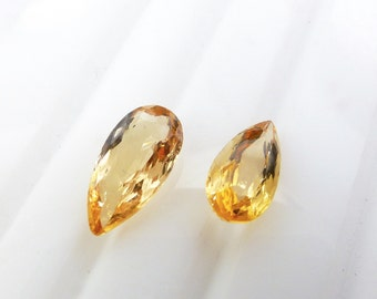 IMPERIAL / PRECIOUS ToPAZ. Natural. Native Cut. Long Pear Shape. Can be DRiLled. 2 pc. 1.55 cts. 8x4 / 9x4.5 mm  (Bt390)