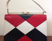 Vintage ladies purse handbag nautical colors