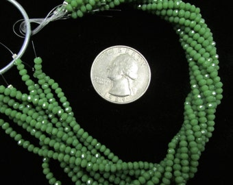Grass Green 1.5x2.5mm Chinese Crystal Rondelles (4r)