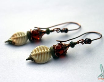 Falling leaves - unique artisan earrings in autumn colors
