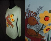 Hippie Embroidered BIRD Vintage 1970's Nylon Womens Stretchy Shirt Top S M