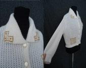 Golden Beaded Knit Vintage 1950's Rockabilly Womens Cardigan Sweater S M