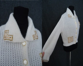 Golden Beaded Knit Vintage 1950's Rockabilly Womens Cardigan Sweater S M