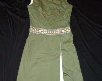 Green Double Breasted Vintage 1950's 1960's Preppy Teenage Girls Dress 12 14