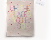 Oh The Places!--A3 embroidery artwork (available now)