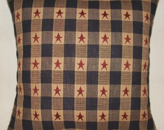 1 American star stripes primitive navy blue red biege pillow covers shams homespun 14x14  USA Americana burgundy 4th july