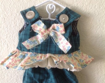 LillieGiggles Green Blue plaid Doll dress for the rag dolls by Lillie