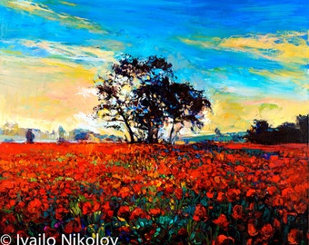 Red field-Original oil Painting on Canvas-Modern Landscape Painting-Original Fine Art Contemporary by Ivailo Nikolov-SIZE: 26x24''