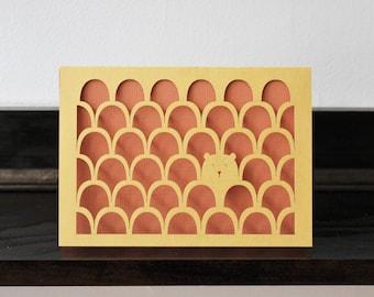 Bear - Laser Cut Card - Paper Cut Stationary