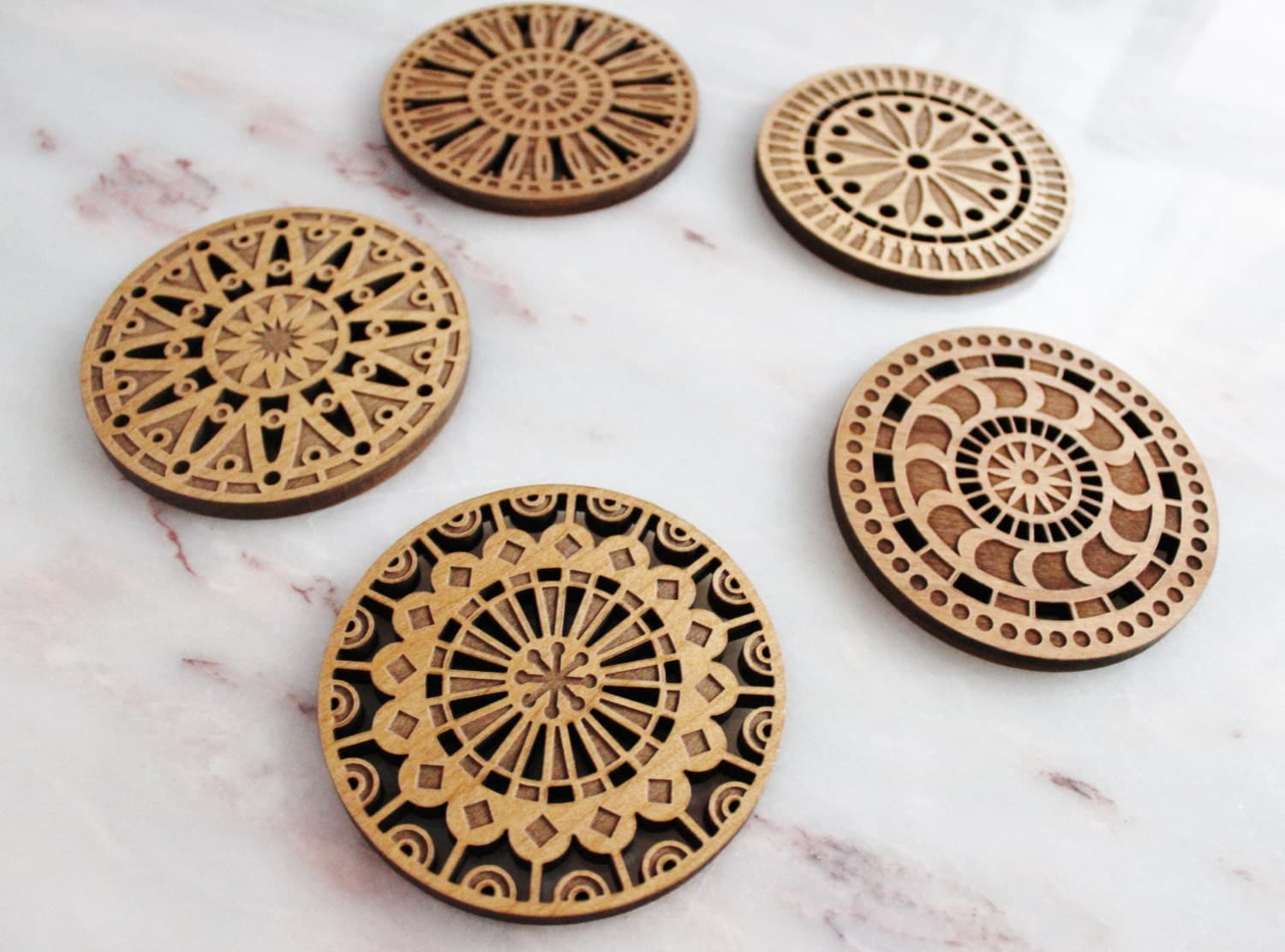 Geometric Wood Cut Coasters Laser Cut Adler By