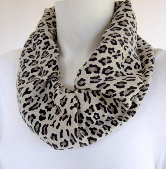 cheetah silk infinity scarf animal print grey black