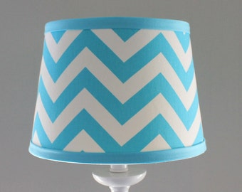Small Aqua and white Chevron lamp shade.  Other colors available.