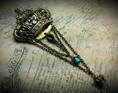 Aqua Blue Green Crystal Crown Dangle Drop Charm Victorian Brooch Pin Antique Gold Filigree Titanic Temptations Vintage Steampunk Jewerly