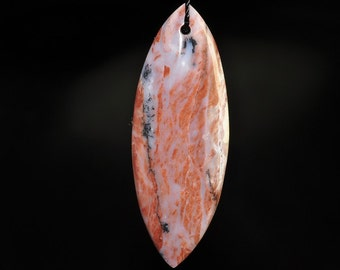 18x50x6mm ~New Discovery~Australian Brecciated Brown PINK OPAL Elongated Marquise Focal Pendant - D0889