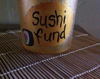 Sushi Fund Money Jar Glass Hand Painted