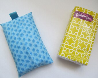 Tissue Case/Small Flower On Turquoise