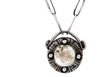 Resin Pendant | Mica Flakes | Artisan Necklace | Hand Forged Jewelry