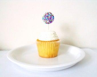 Birthday Cupcake Toppers- Confetti Circles One Dozen