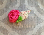 Ribbon Rose Hair Comb - Pink Green Vintage Floral