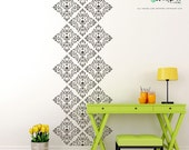 Damask Wall Decal - wall stickers set of damask diamonds