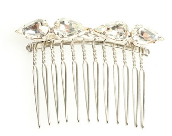 Handcrafted Crystal Hair Comb | Embellished Silver Sparkle Rhinestone Soldered Headpiece | Bridal Wedding Hair Updo Bridesmaid|1000527