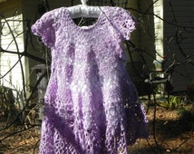 Lavender Thread Crochet Toddler Dress With White Cotton Slip Size 24 Month