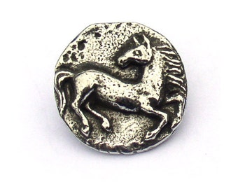 Green Girl Studios Horse Button Pewter