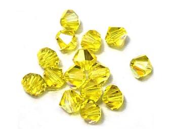 Citrine Crystal Beads Swarovski Bicones AB 4mm (24)