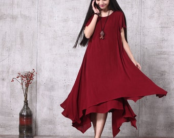 Round Neck Loose Fitting Long Maxi Dress - Dress in Wine Red (LYQ018)- Short Sleeved Linen Blend Dress for Women
