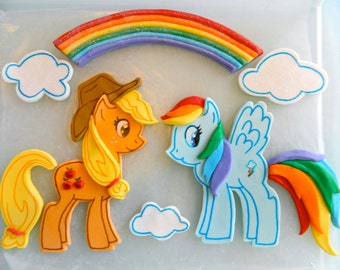 My Little Pony scene - fondant cake topper