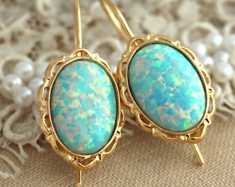 Opal earrings,Opal Gold earrings,Opal Gold drop earrings,Bridal jewelry,Mint earrings,Mint Jewelry,Opal Gold earrings,Gift for her