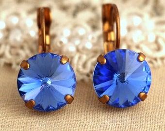 Blue Navy Earrings,Blue Sapphire Earrings,Blue Swarovski Earrings,Bridesmaids Earrings,Sapphire Swarovski Drop Earrings,Gift For Her