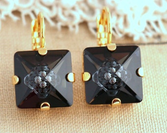 Black Earrings Black drop earrings, Swarovski earrings, Black gold Rhinestone earrings, Gifts for woman - 14 k Gold Plated Crystal earrings