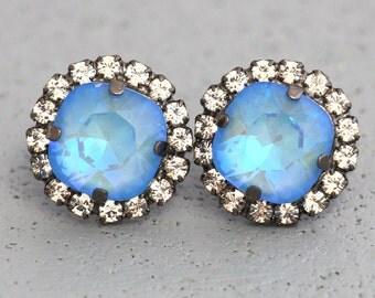 Aquamarine Blue Swarovski Earrings, Swarovski Bridal Earrings Something Blue Bridal Crystal Earrings Gift for her Swarovski Stud Earrings
