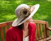 Beige summer hat, Kentucky Derby hat, Royal Ascot hat, cocktail hat, wedding