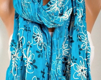 Turquoise Embroidery Cotton Scarf,Wedding Shawl,Bridal Scarf,Bridesmaid Gift, Cowl Scarf, Gift Ideas for Her Women Fashion Accessories