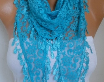 Turquoise Lace Scarf, Fall Scarf, Wedding Shawl, Cowl Scarf, Bridesmaid Gift, Gift Ideas For Her, Women's Fashion Accessories