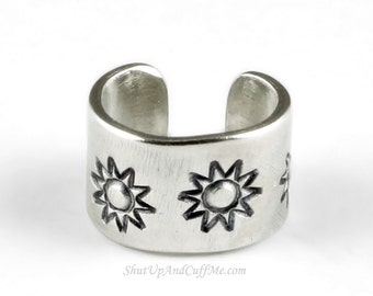 Sun Ear Cuff - Aluminum Stamped Ear Cuff