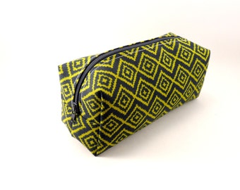 Green and Navy Tribal Pattern Makeup Bag, Gadget Case, Under 15, Pencil Case, Medium, Zippered, Cosmetic Case, For Her