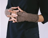 handwarmers in merino wool - dark taupe OOAK