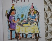 Tea Party Girls -  hand illustrated birthday card