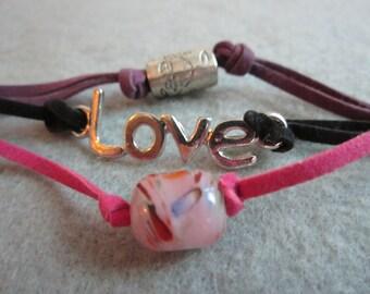 Love Me Tender, Lampwork Glass Bead Bracelet