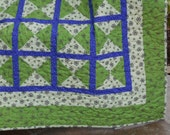 QUILTED THROW BLANKET in Cut Diamond Design worked in Green Cream and Periwinkle Blue  Approx 61 x 50 inches