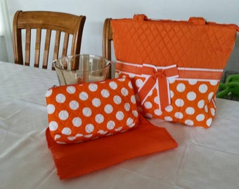 Diaper bag in Tangerine and white polka dots, free monogramming, changing pad, and wipe bag