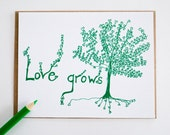 Love Grows set of 4 baby shower blank cards, anniversary wedding trees hearts