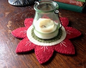 Flower Candle Mat- Red
