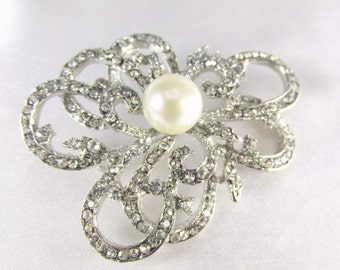 Large Ivory Off White Pearl Abstract Flower Brooch with Silver Clear Crystals for brooch bouquet or jewelry decor